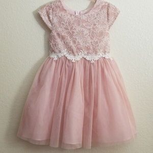 Rare Editions 3T blush lace and tulle dress